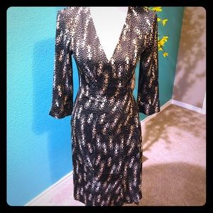 DVF Julian Vintage brown abstract wrap dress 8